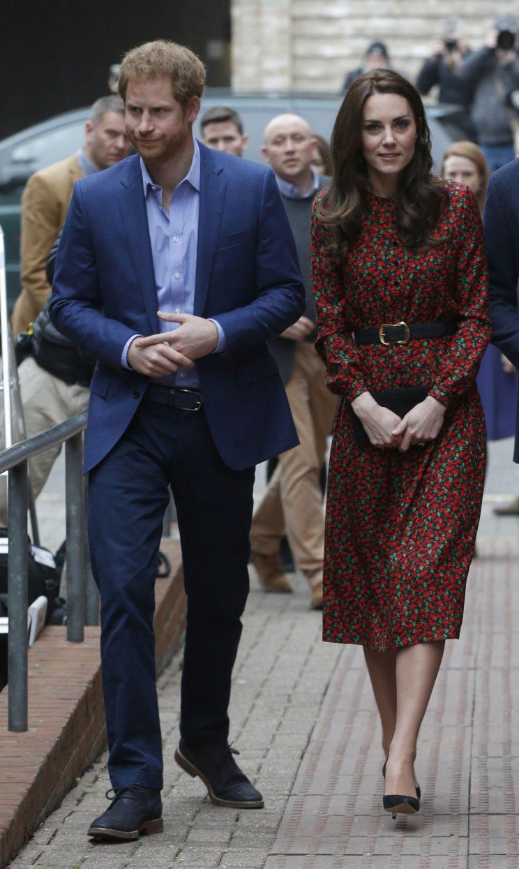 <i>The Duchess donned a $900 dress yesterday instead of her usual L.K. Bennett designs (Photo: PA)</i>