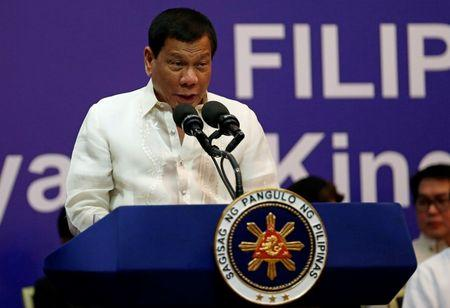 Philippine President Rodrigo Duterte speaks during a meeting with the Filipino community in Riyadh
