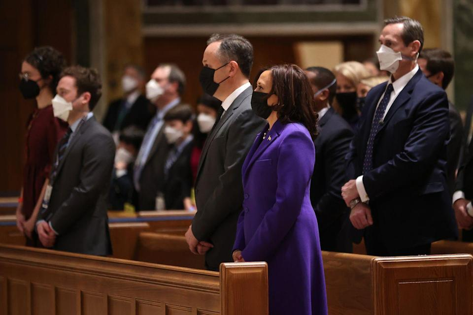 <p>Harris and Emhoff attend the service as well.</p>