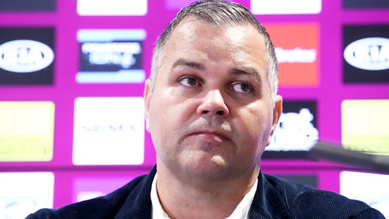 Former Broncos coach Anthony Seibold is pictured during a press conference.