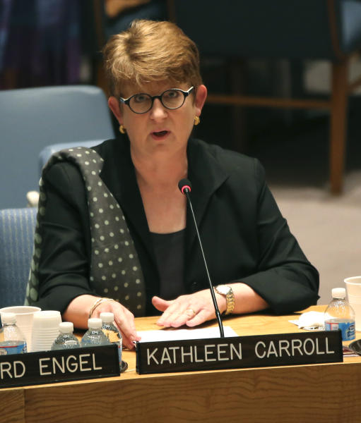 Associated Press Executive Editor Kathleen Carroll addresses a United Nations Security Council meeting on the protection of civilians in armed conflict and the protection of journalists, Wednesday, July 17, 2013 at U.N. headquarters. (AP Photo/Mary Altaffer)