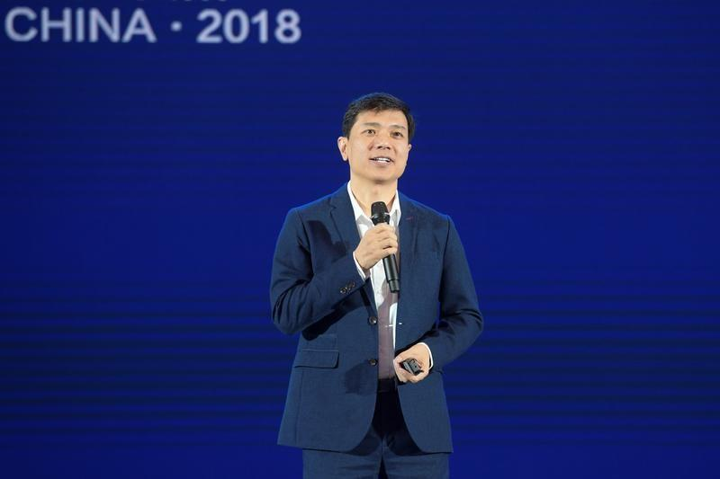 Baidu CEO Robin Li delivers a speech at the China International Big Data Industry Expo in Guiyang