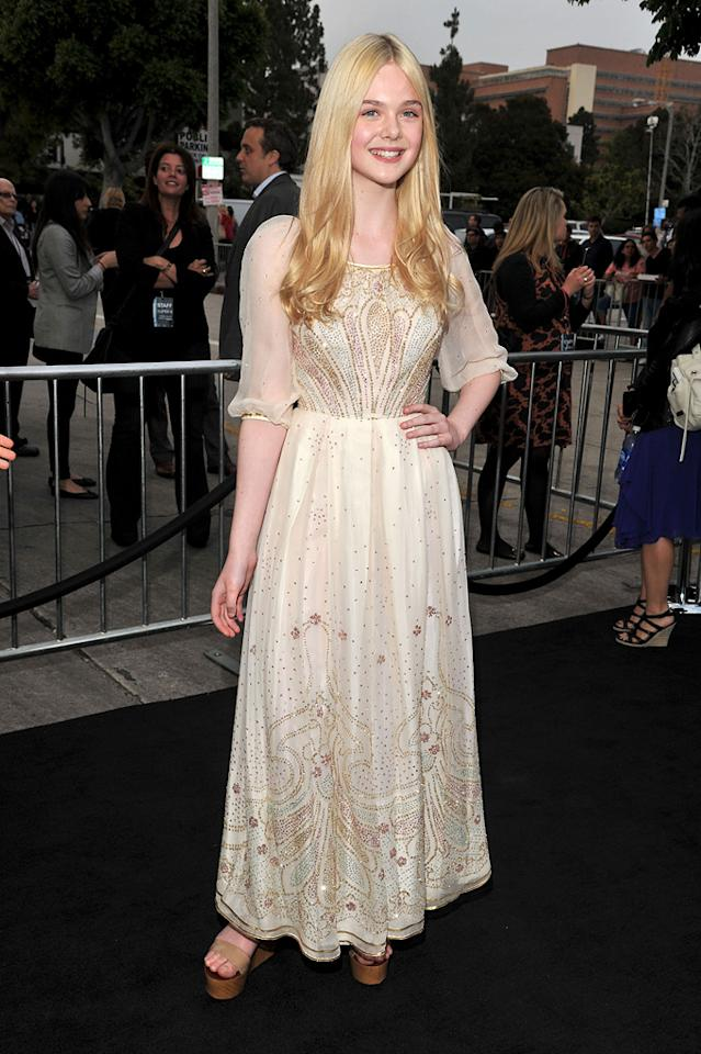 "<a href=""http://movies.yahoo.com/movie/contributor/1808461888"">Elle Fanning</a> at the Los Angeles premiere of <a href=""http://movies.yahoo.com/movie/1800063512/info"">Super 8</a> on June 8, 2011."