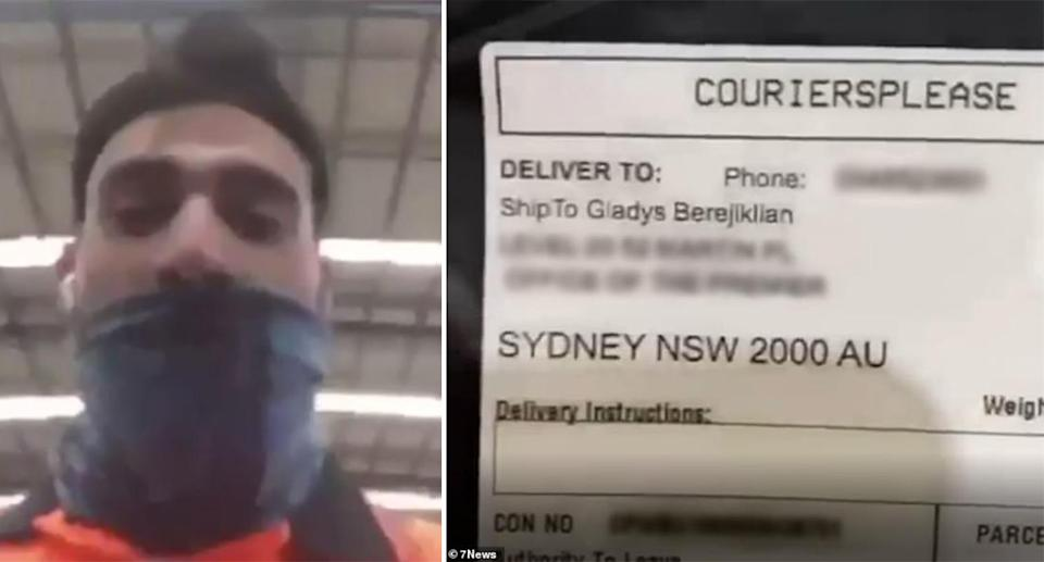 LEFT: A screenshot from the video showing the dark-haired man wearing a navy blue mask. RIGHT: a screenshot of the package showing the premier's name.