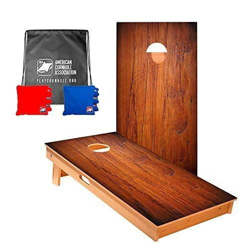 """<p><strong>ACA American Cornhole Association</strong></p><p>amazon.com</p><p><strong>$289.99</strong></p><p><a href=""""https://www.amazon.com/dp/B07C65QTSW?tag=syn-yahoo-20&ascsubtag=%5Bartid%7C10060.g.37213118%5Bsrc%7Cyahoo-us"""" rel=""""nofollow noopener"""" target=""""_blank"""" data-ylk=""""slk:Shop Now"""" class=""""link rapid-noclick-resp"""">Shop Now</a></p><p>If you're a dedicated cornstar and only an official board will do, get your new cornhole board from the American Cornhole Association. This premium set – made for tournaments and competitions – comes with two solid wood boards and eight regulation bags. Made in the USA, all of the ACA's sets carry an unconditional money-back guarantee. These first-class boards are heavy, so portability may be an issue, even with the built-in handles.</p>"""