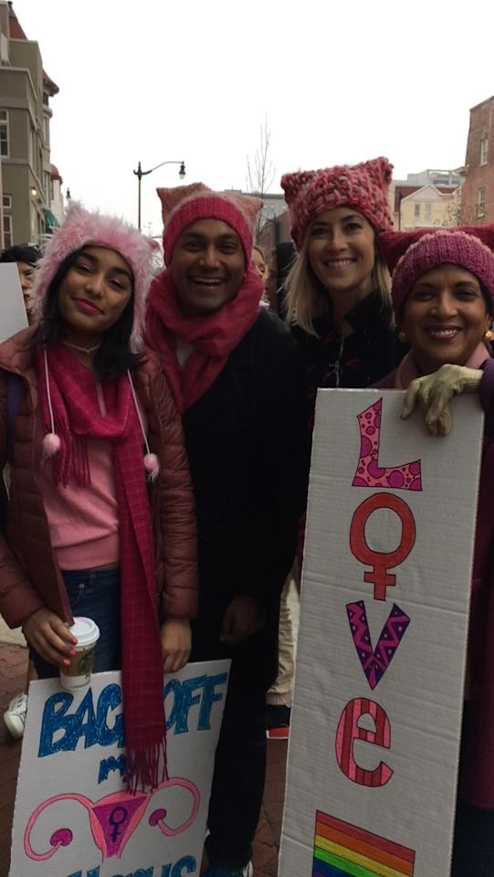 """<p>Family members Lisa Boohar (of San Francisco), Miriam Jacob, Anup Jacob, and Olivia Jacob (of Virginia) converged in Washington, D.C., with some special pussy hats. While Olivia wore a fuzzy version she'd gotten at Burning Man, the others had caps crocheted for them by an artist friend out of yarn she spun and dyed by hand. """"She was crocheting in the car as we drove to the airport,"""" Boohar says of her San Francisco-based friend Pam Deluco, who learned the special stitch for a Persian crochet hook by watching a YouTube tutorial. """"They were made with love,"""" Miriam says. (Photo: Beth Greenfield) </p>"""