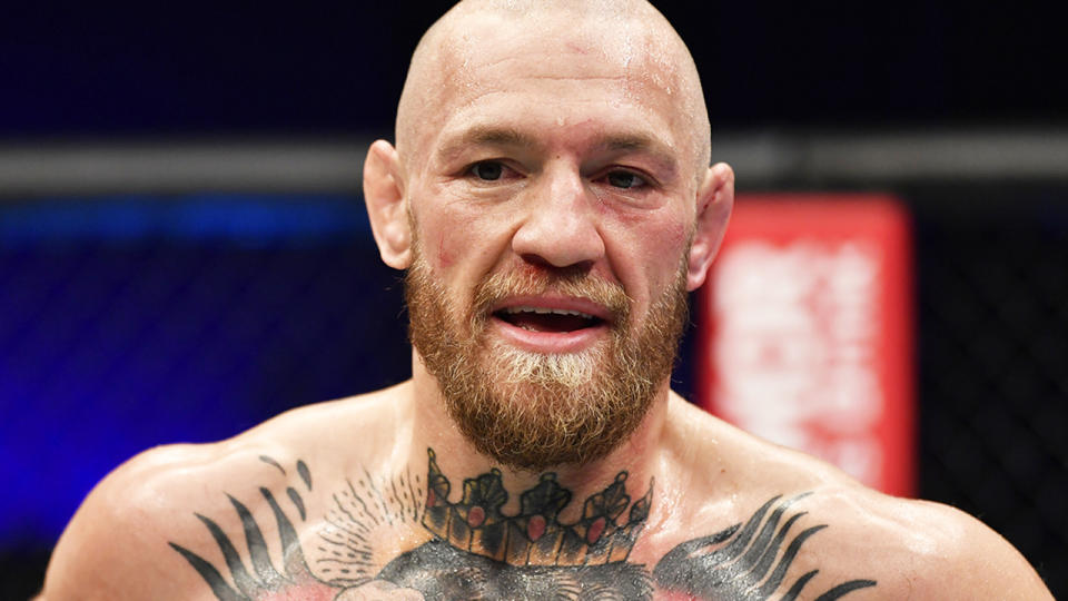 Conor McGregor, pictured here after his loss to Dustin Poirier at UFC 257.