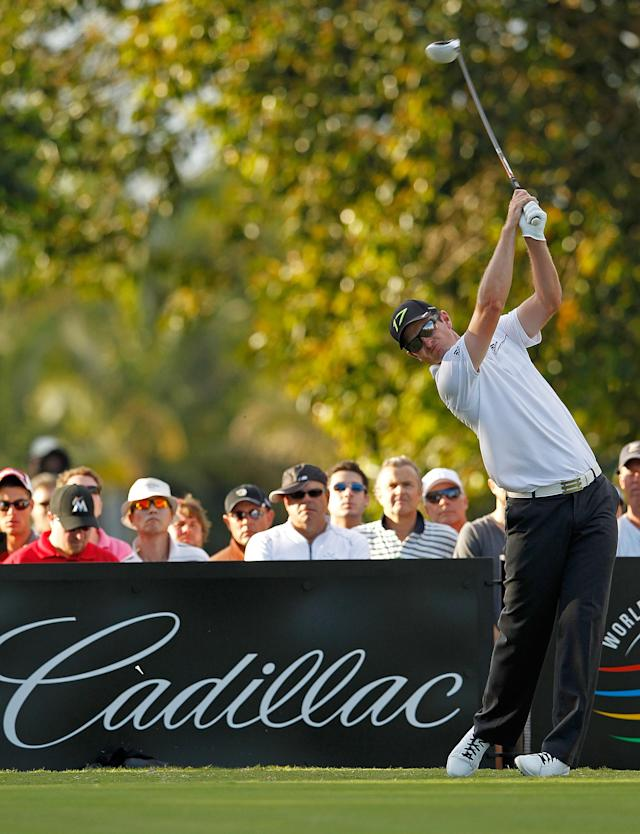 MIAMI, FL - MARCH 10: Justin Rose of England hits his tee shot on the 16th hole during the third round of the World Golf Championship's Cadillac Championship at Doral Golf Resort And Spa on March 10, 2012 in Miami, Florida. (Photo by Mike Ehrmann/Getty Images)