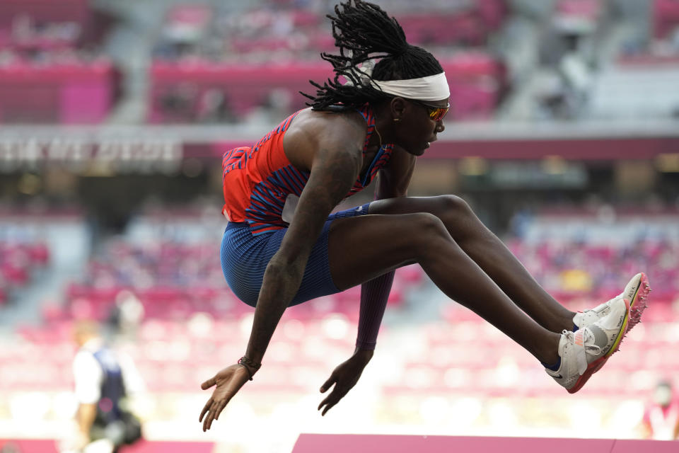 Brittney Reese, of United States, competes in a qualification for the women's long jump at the 2020 Summer Olympics, Sunday, Aug. 1, 2021, in Tokyo. (AP Photo/Martin Meissner)