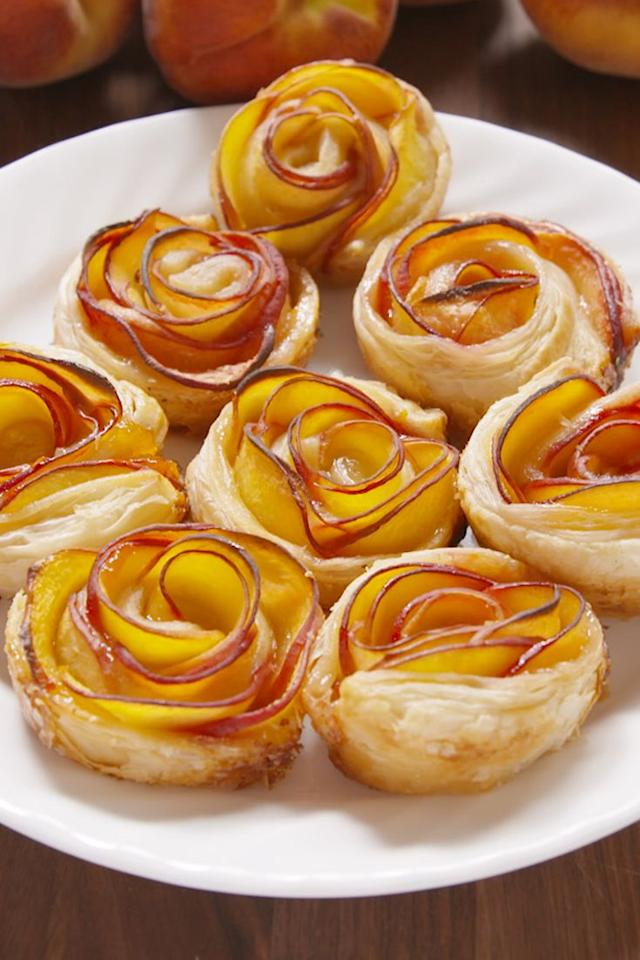 """<p>They taste as good as they look.</p><section></section><p>Get the recipe from <a href=""""/cooking/recipe-ideas/recipes/a47888/peach-roses-recipe/"""" target=""""_blank"""">Delish</a>.</p><p><em><strong>BUY NOW: Cuisinart Classic Chef's Knife, $15; </strong></em><em><strong><a href=""""https://www.amazon.com/Cuisinart-Classic-Triple-8-Inch-C77TR-CF-25/dp/B00GIBK8RA/"""" target=""""_blank"""">amazon.com</a>.</strong></em><span class=""""redactor-invisible-space""""></span><br></p>"""