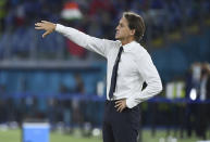 Italy's manager Roberto Mancini gives instructions during the Euro 2020 soccer championship group A match between Italy and Switzerland at Olympic stadium in Rome, Wednesday, June 16, 2021. (Ettore Ferrari, Pool via AP)