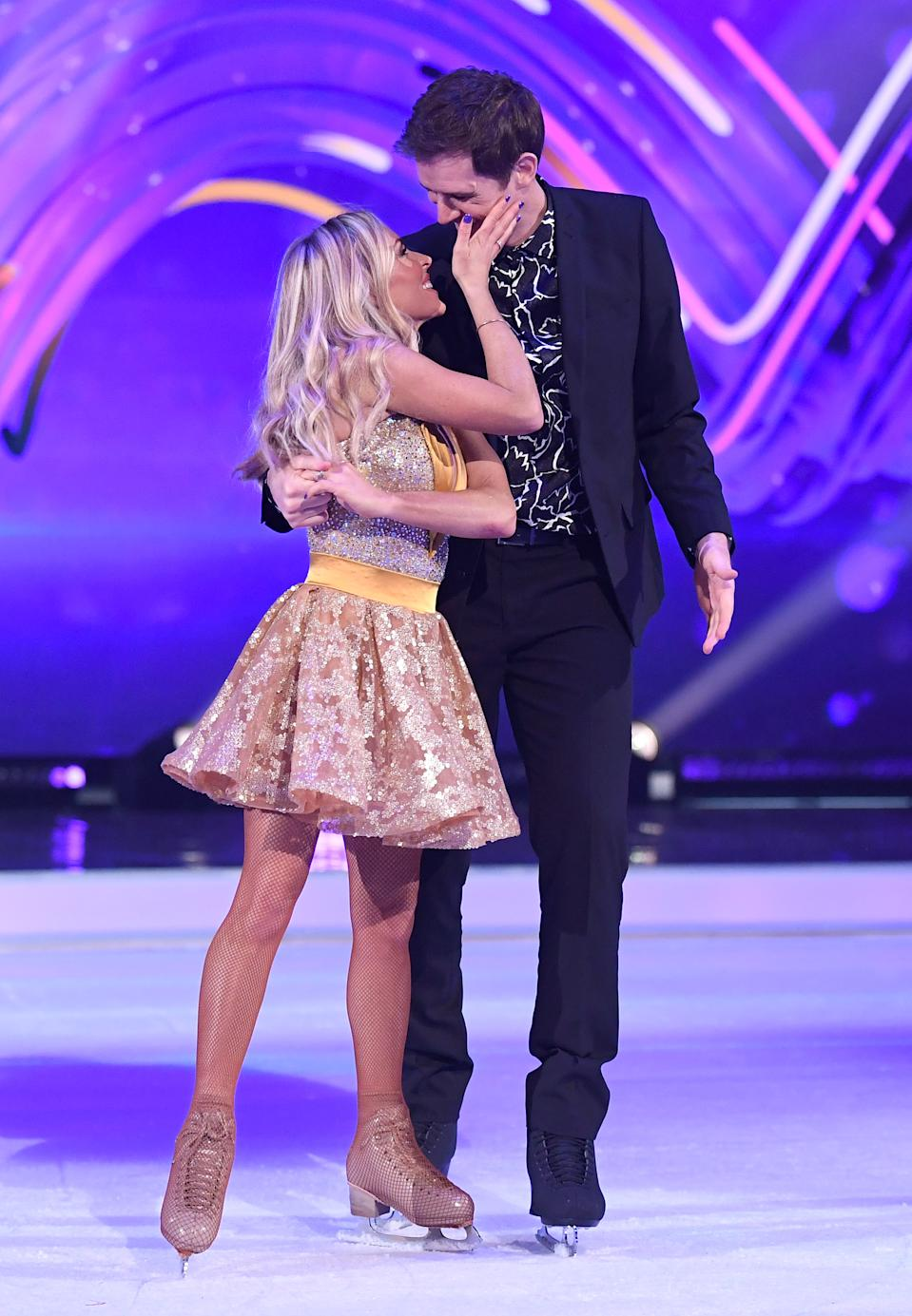 Kevin Kilbane and Brianne Delcourt during the Dancing On Ice 2019 photocall at the Dancing On Ice Studio, ITV Studios, Old Bovingdon Airfield on December 09, 2019 in Bovingdon, England. (Photo by Karwai Tang/WireImage)