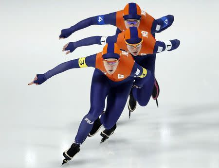 Speed Skating - Pyeongchang 2018 Winter Olympics - Women's Team Pursuit competition finals - Gangneung Oval - Gangneung, South Korea - February 21, 2018 - Marrit Leenstra, Ireen Wust and Antoinette de Jong of the Netherlands compete. REUTERS/Damir Sagolj