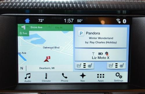 Ford Sync 3 system showing Pandora app