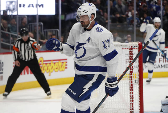 Tampa Bay Lightning left wing Alex Killorn reacts after scoring a goal against the Colorado Avalanche in the second period of an NHL hockey game Monday, Feb. 17, 2020, in Denver. (AP Photo/David Zalubowski)