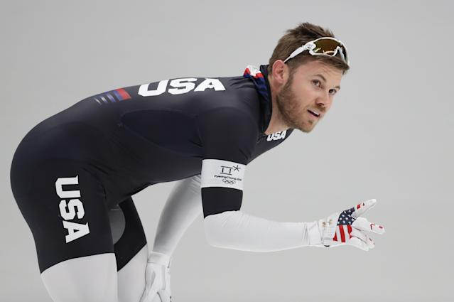 Speed Skating - Pyeongchang 2018 Winter Olympics - Men's 1000m competition finals - Gangneung Oval - Gangneung, South Korea - February 23, 2018 - Joey Mantia of the U.S. reacts after the heat. REUTERS/Lucy Nicholson