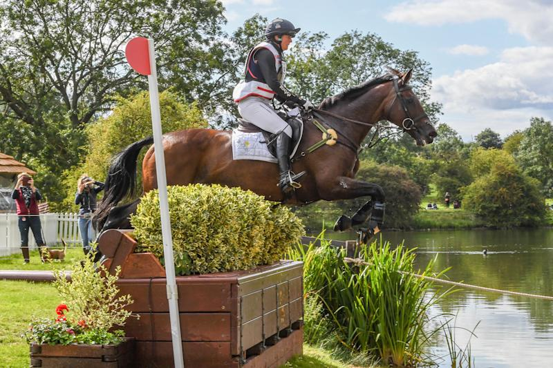Piggy French sits well-placed in second ahead of the show jumping at the Land Rover Burghley Horse Trials