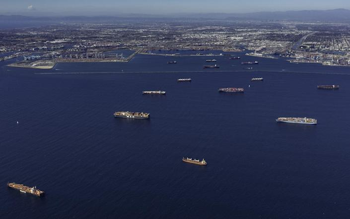 Ships moored off LA and Long Beach in California this week - Tim Rue/Bloomberg