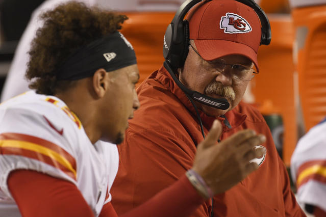 "Chiefs head coach Andy Reid is regarded as the best <a class=""link rapid-noclick-resp"" href=""/nfl/players/30123/"" data-ylk=""slk:Patrick Mahomes"">Patrick Mahomes</a> impressionist. (Getty Images)"