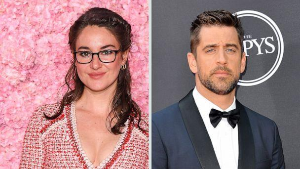 PHOTO: Shailene Woodley attends the Giambattista Valli show as part of the Paris Fashion Week on March 02, 2020 in Paris. Aaron Rodgers attends The 2018 ESPYS at Microsoft Theater on July 18, 2018 in Los Angeles. (Pascal Le Segretain/Getty Images Allen Berezovsky/FilmMagic via Getty Images)