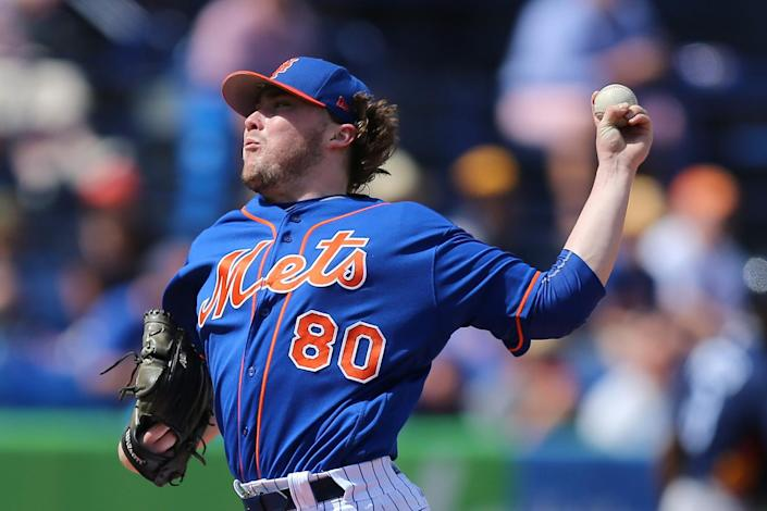 <p>New York Mets pitcher P.J. Conlon throws in the first inning of a baseball game against the Houston Astros at First Data Field in Port St. Lucie, Fla., Monday, Feb. 27, 2017. Conlon was invited to big-league camp for the first time this spring. (Gordon Donovan/Yahoo Sports) </p>