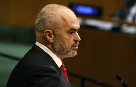 Albanian Prime Minister Edi Rama addresses the 72nd United Nations General Assembly at U.N. headquarters in New York, U.S., September 22, 2017. REUTERS/Shannon Stapleton