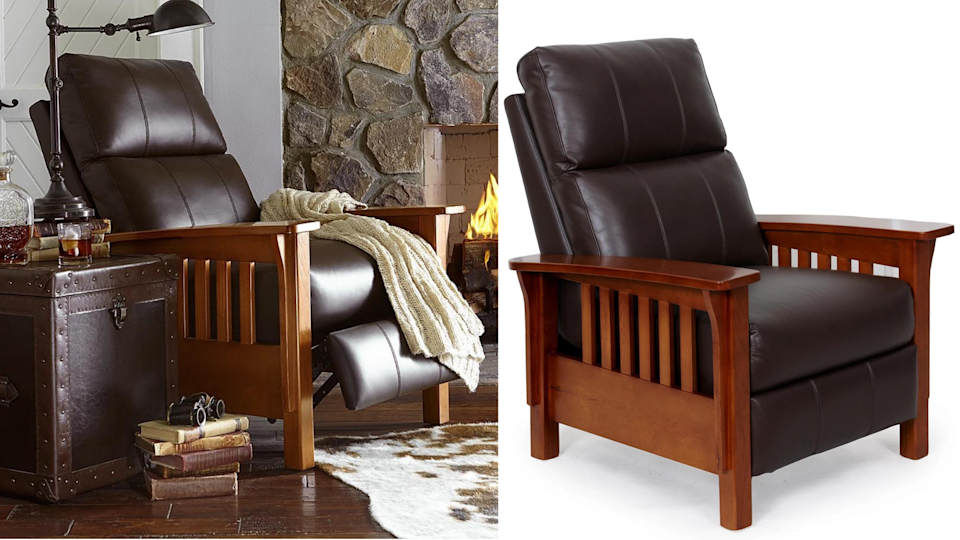 Cuddle up in this chocolate leather chair for a cabin style staycation at home.