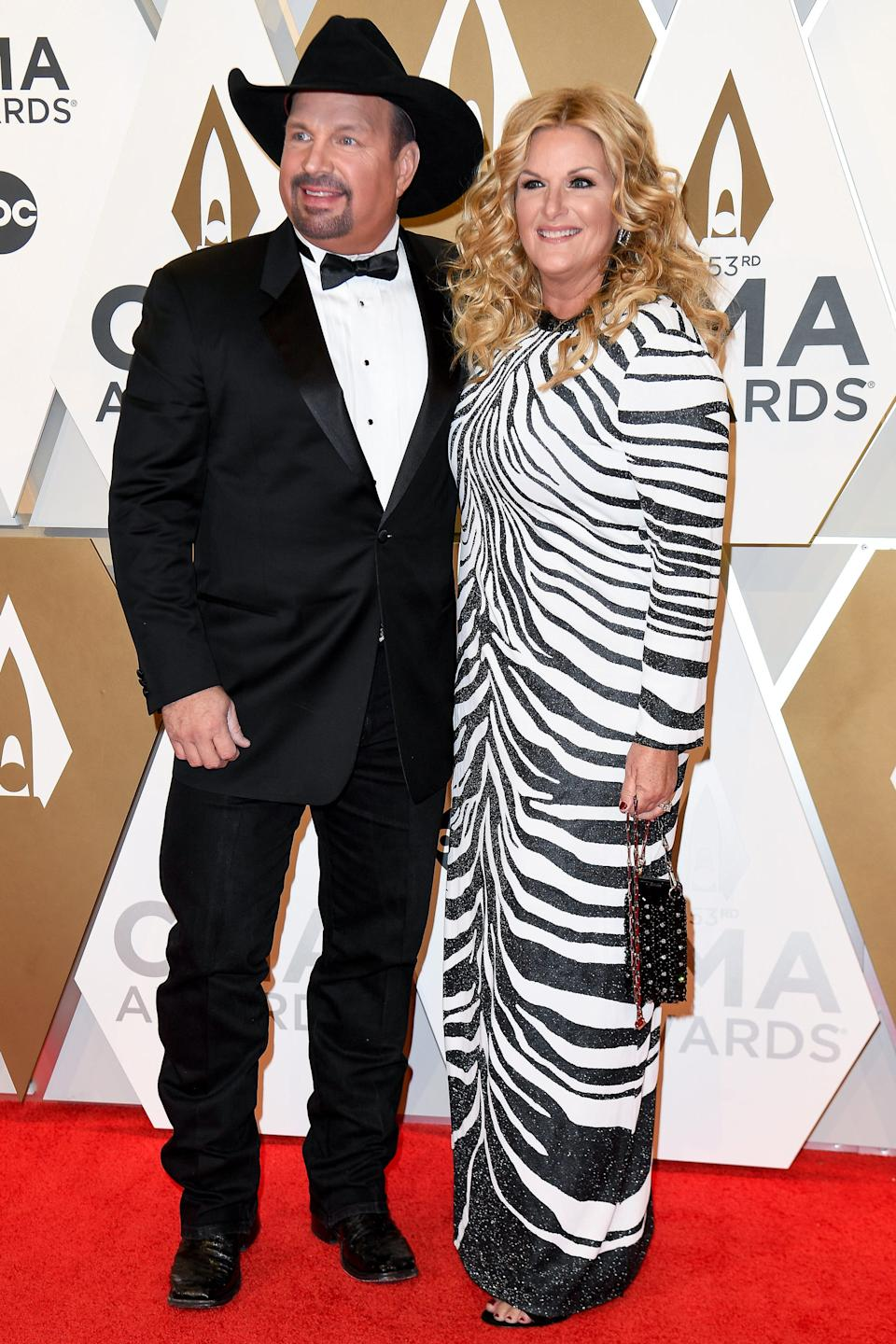 Garth Brooks and Trisha Yearwood on the red carpet during the 53rd Annual CMA Awards at Music City Center in Nashville, Tenn., Wednesday, Nov. 13, 2019.