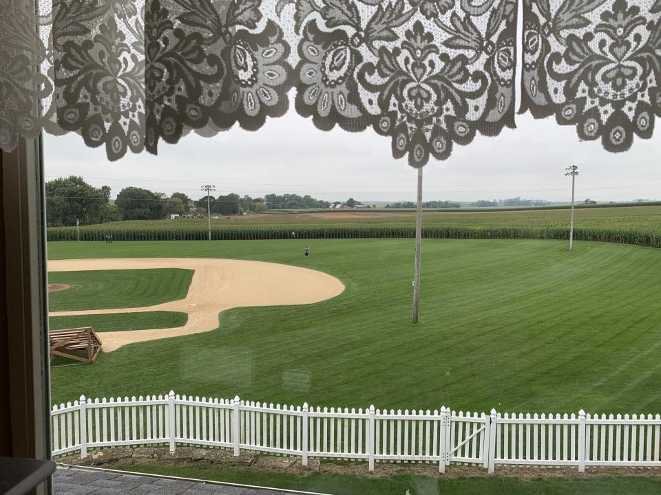 The field where the Yankees and White Sox will play is being construction just beyond the left field wall of corn. (Yahoo Sports)