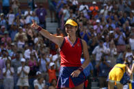 Emma Raducanu, of Great Britain, reacts after defeating Belinda Bencic, of Switzerland, during the quarterfinals of the US Open tennis championships, Wednesday, Sept. 8, 2021, in New York. (AP Photo/Elise Amendola)