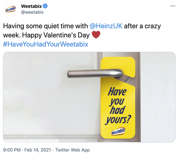 The joke continued with Weetabix sharing this tweet. Photo: Twitter