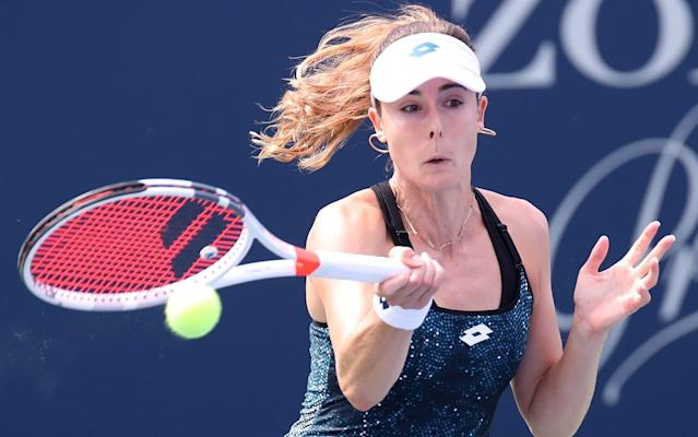 "<a class=""link rapid-noclick-resp"" href=""/olympics/rio-2016/a/1085259/"" data-ylk=""slk:Alize Cornet"">Alize Cornet</a> was issued a warning for changing her shirt on court. The U.S. Open issued an apology the next day."
