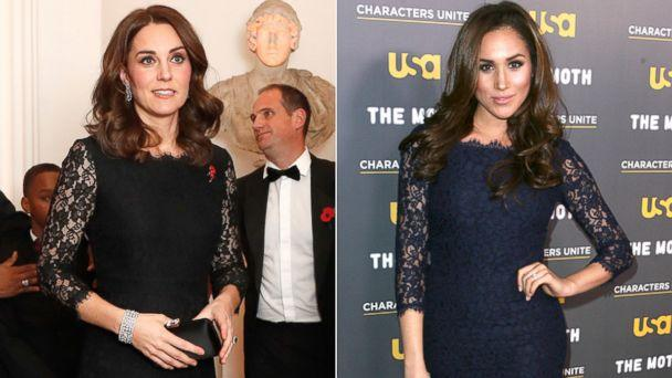 PHOTO: Britain's Kate, the Duchess of Cambridge, at the 2017 Gala Dinner for The Anna Freud National Centre for Children and Families, in London, Nov. 7, 2017 | Meghan Markle at the 'Characters Unite/Moth Storytelling Event' in Los Angeles, Feb. 15, 2012. (AP | Getty Images)