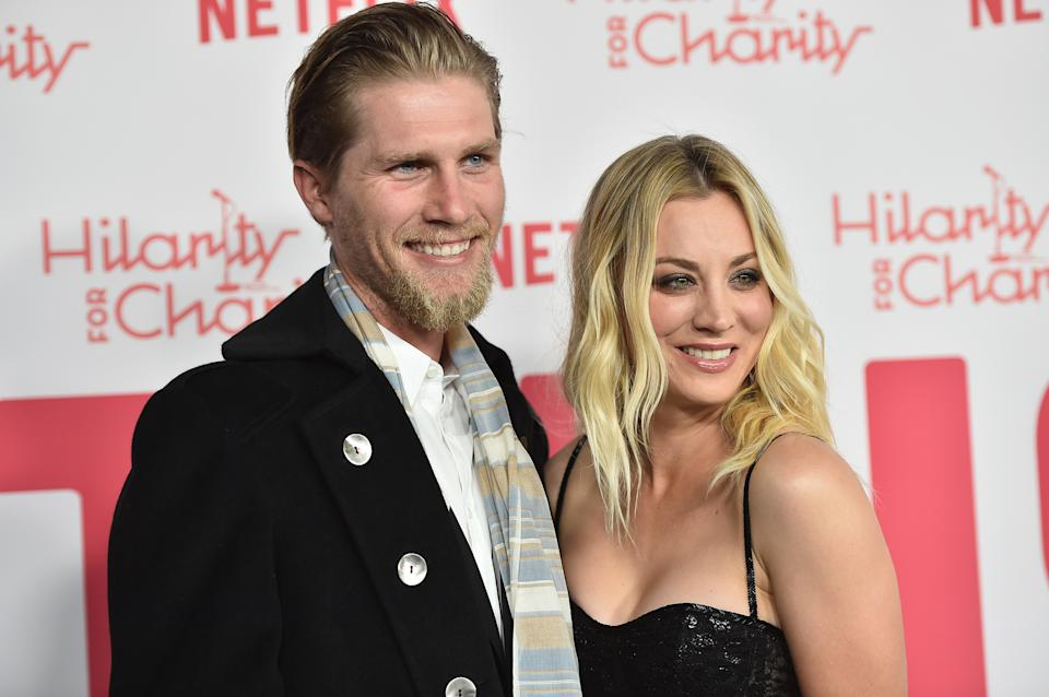 LOS ANGELES, CA - MARCH 24:  Karl Cook and Kaley Cuoco attend the 6th Annual Hilarity For Charity at The Hollywood Palladium on March 24, 2018 in Los Angeles, California.  (Photo by Alberto E. Rodriguez/Getty Images)