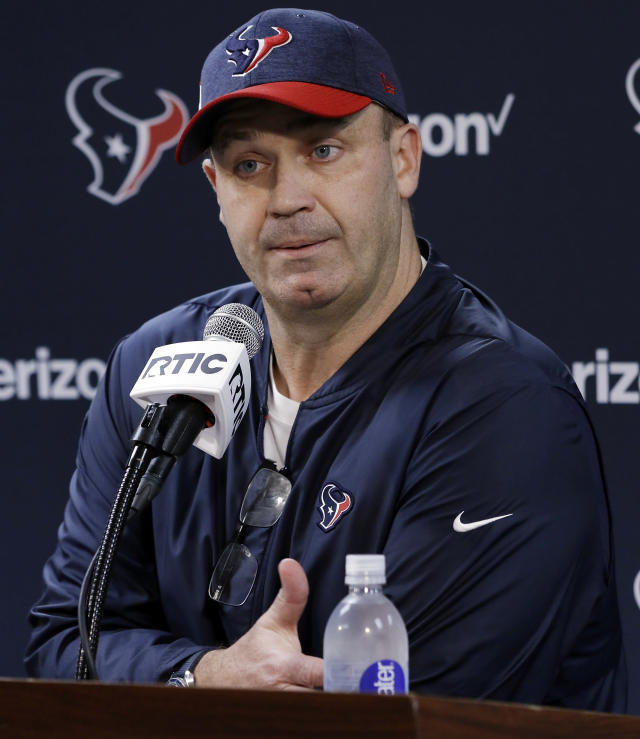Houston Texans head coach Bill O'Brien answers questions during a press conference after a practice at the team's NFL football training facility in Houston Tuesday, June 11, 2019. (AP Photo/Michael Wyke)