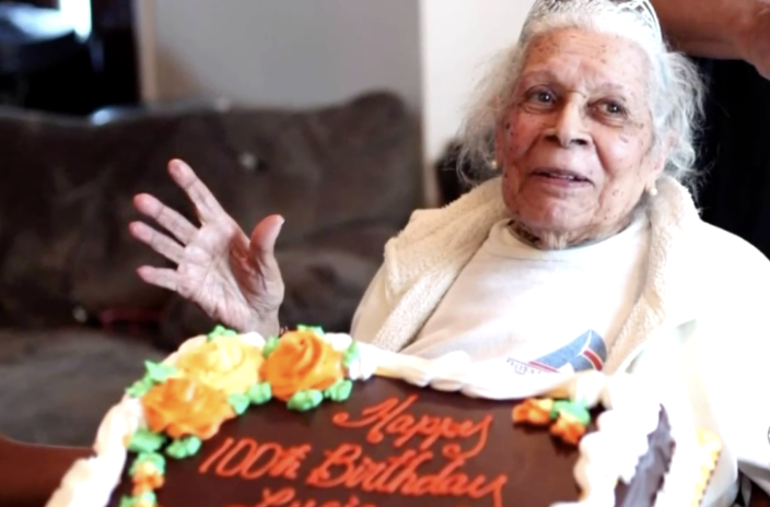 Lucia DeClerck on her 100th birthday. On her 105th birthday last month, she was diagnosed with COVID-19, and has since beat it. / Credit: CBS Philly