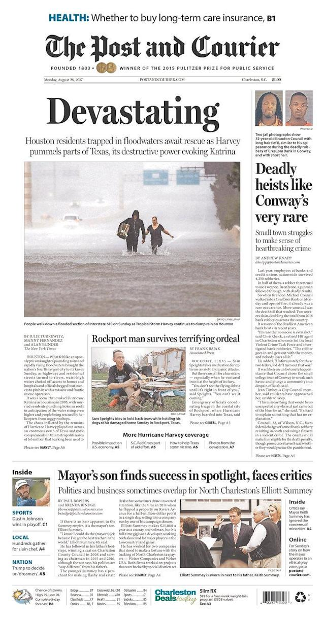 <p>The Post and Courier<br> Published in Charleston, S.C. USA. (newseum.org) </p>