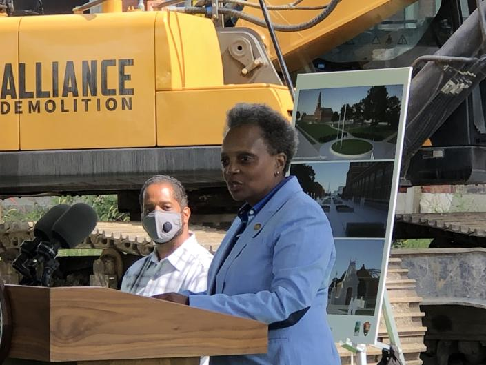Ald. Anthony Beale looks on as Mayor Lori Lightfoot speaks at the Pullman National Monument on Labor Day. (Mark Konkol/Patch)