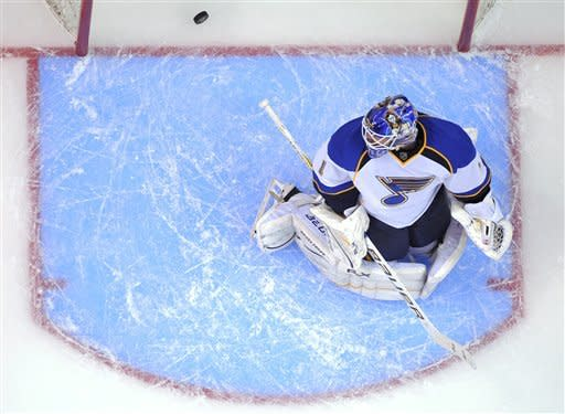 St. Louis Blues goalie Brian Elliott looks back at a goal by Los Angeles Kings center Jordan Nolan during the first period in Game 4 of an NHL hockey Stanley Cup second-round playoff series, Sunday, May 6, 2012, in Los Angeles. (AP Photo/Mark J. Terrill)