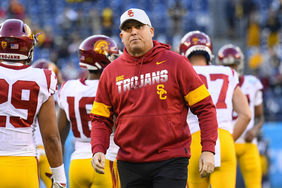 SAN DIEGO, CA - DECEMBER 27: USC Trojans head coach Clay Helton looks on before the San Diego County Credit Union Holiday Bowl football game between the USC Trojans and the Iowa Hawkeyes on December 27, 2019 at SDCCU Stadium in San Diego, California. (Photo by Brian Rothmuller/Icon Sportswire via Getty Images)
