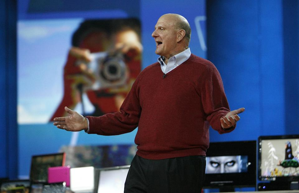Former Microsoft CEO Steve Ballmer delivers his keynote speech before the 2010 International Consumer Electronics Show REUTERS/Mario Anzuoni