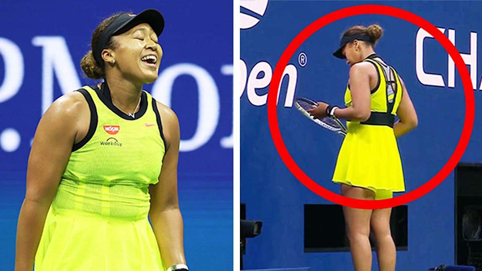 Naomi Osaka (pictured left) reacting after losing a point and (pictured right) taking her time at the back of the court, which drew the ire of the US Open crowd.