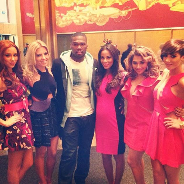Celebrity Twitpics: The Saturdays continued their assault on America this week. and during a TV appearance who did they bump into? Only 50 Cent. The girls posed for this photo with the famous rapper.