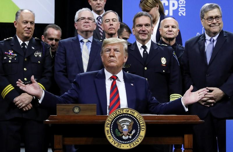 FILE PHOTO: U.S. President Trump attends International Association of Chiefs of Police annual conference and expo in Chicago