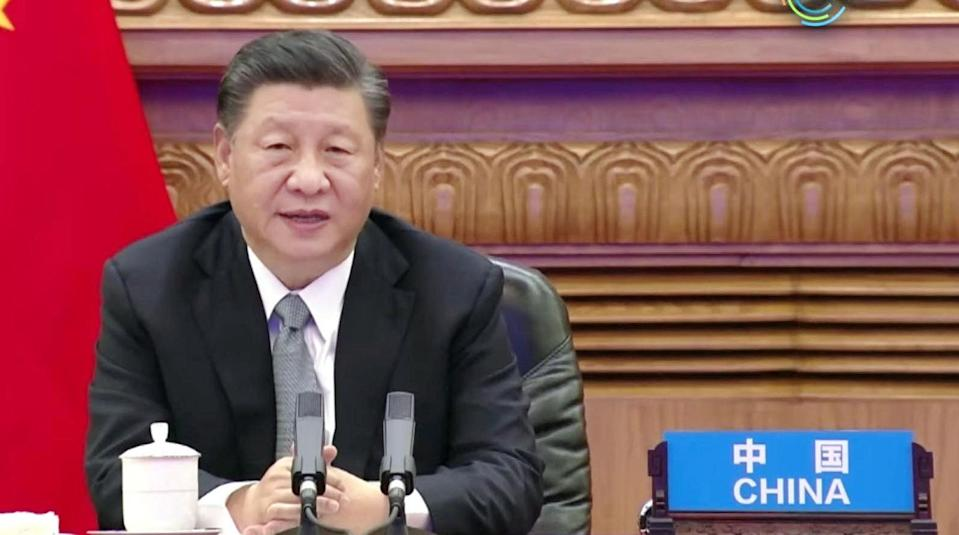 Chinese President Xi Jinping speaking during the virtual climate summit. Photo: Kyodo