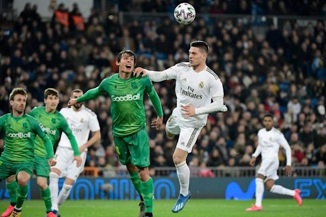 Real Madrid's Luka Jovic (right) says he was given permission to go to Serbia by Real Madrid. (AFP Photo/JAVIER SORIANO)