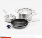 """<p><strong>Made-In Cookware</strong></p><p>madeincookware.com</p><p><strong>$359.00</strong></p><p><a href=""""https://go.redirectingat.com?id=74968X1596630&url=https%3A%2F%2Fmadeincookware.com%2Fproducts%2Fthe-starter-kit%3Fvariant%3D48131691210&sref=https%3A%2F%2Fwww.goodhousekeeping.com%2Fcooking-tools%2Fcookware-reviews%2Fg5050%2Fbest-stainless-steel-cookware-sets%2F"""" rel=""""nofollow noopener"""" target=""""_blank"""" data-ylk=""""slk:Shop Now"""" class=""""link rapid-noclick-resp"""">Shop Now</a></p><p>Made-In's solid pots and pans are five-ply, meaning they're <strong>made with five layers of stainless steel and aluminum, so </strong><strong>they heat evenly and are super durable</strong>. They're oven safe up to 650ºF and can be use on induction cooktops, too. This smaller set comes with three cookware essentials: A 10-inch skillet, 2-quart saucepan, and 5-quart stock pot with lids. It also includes a carbon steel skillet, which is a lighter version of a cast iron skillet that heats quickly and reaches roaring temperatures. </p>"""