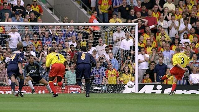 <p><strong>7th August 1999 vs Wimbledon</strong></p> <br><p>Watford's first goal of the Premier League era came just 17 minutes into their opening game of the 1999/00 campaign at home against Wimbledon.</p> <br><p>Northern Irish left-back Peter Kennedy converted from the penalty spot to put the Hornets back on level terms after conceding an early goal. But despite also playing against 10 men, the late Graham Taylor's side were beaten 3-2 - both teams ended the season relegated.</p>
