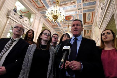 Sinn Fein's Conor Murphy speaks to media at Stormont Parliament in Belfast