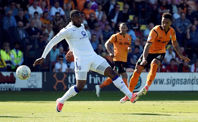 """Soccer Football - League Two - Barnet vs Chesterfield - The Hive, London, Britain - May 5, 2018 Barnet's Richard Brindley scores their second goal Action Images/Adam Holt EDITORIAL USE ONLY. No use with unauthorized audio, video, data, fixture lists, club/league logos or """"live"""" services. Online in-match use limited to 75 images, no video emulation. No use in betting, games or single club/league/player publications. Please contact your account representative for further details."""